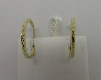 14K Solid Yellow Gold Diamond Cut Hoop Earring