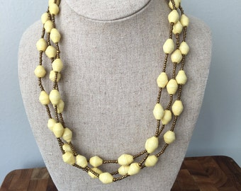 Rwandan Paper Bead Necklace | Small Paper Bead Necklace | Yellow Paper Bead Necklace | Spring Necklace | Fair Trade | Easter Necklace