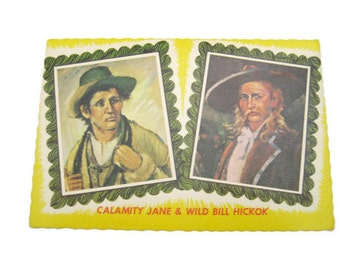 Gunslingers Postcard Calamity Jane and Wild Bill Hickok Postcard South Dakota  Postcard Paper Ephemera Unused Vintage Postcard
