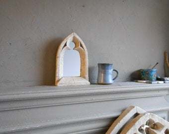 Gothic Mirror,free standing.11 inches high.for the mantelpiece