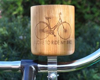 Hand made wood bicycle handlebar cup holder