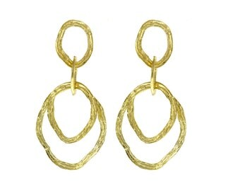 14k Yellow Gold Textured Earrings - Dangle Earrings - 14k Yellow Gold Earrings for Women - For Her - Jewelry
