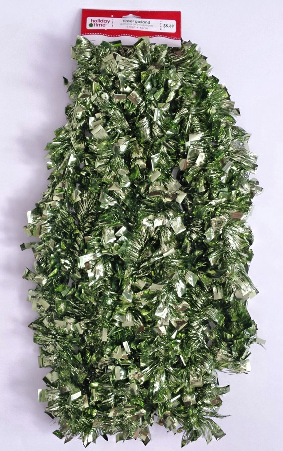 Colored tinsel garland green christmas