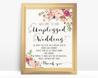 Pink Floral Unplugged Wedding Sign 8x10 No cameras Poster Watercolor floral Sign Wedding Sign Outdoor Wedding Party Printable - PF-18