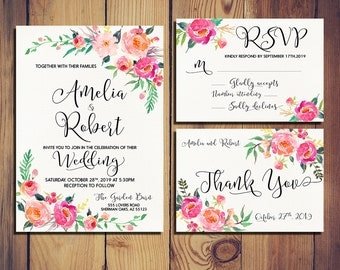 Printable Wedding Invitation Gentle romantic bloom  watercolor Set/Suite RSVP Thank You Cards Printable digital files - GBF-31