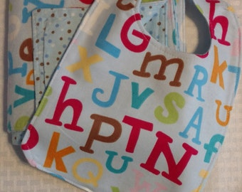 CLEARANCE!  Large Flannel Blanket/Bib Gift Sets (double-sided).  Alphabet set.