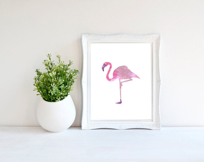 Pink Watercolor Flamingo Poster / Printable Poster 50X70 / Pink Flaming Wall Art / Watercolor Flamingo Printable / Tropical Poster