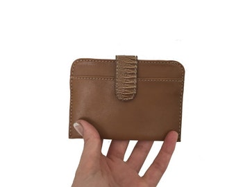 Vintage Leather Credit Card Wallet - Womens Mini Wallet