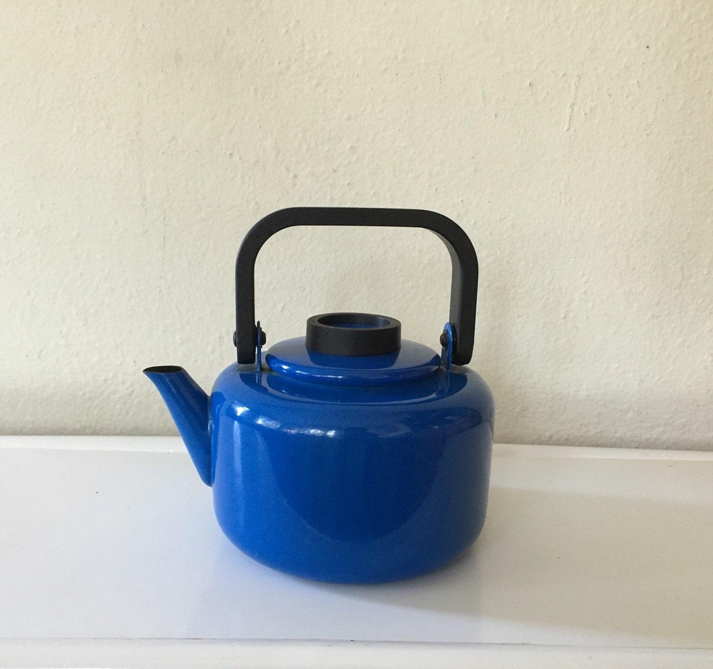dansk tea kettle colbalt blue mid century modern tea kettle - like this item