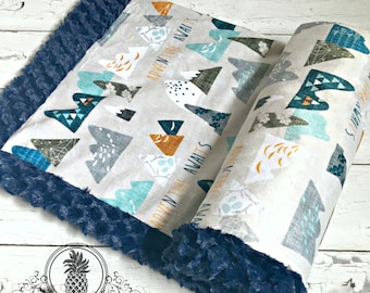 Adventure Awaits - Max's Mountains - MInky Baby Blanket -Designer Adventure Mountains MInky - Navy