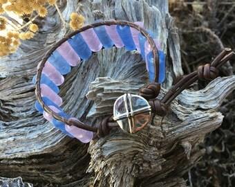 Handmade Adjustable Single Wrap Bracelet - Blue & Pink Glass Beads
