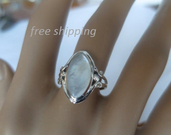 Silver mother of pearl ring,  92.5 sterling silver