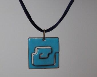 Handmade geometric turquoise-blue enamel pendant