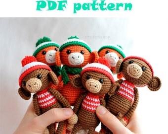 PDF pattern Сrochet monkey in hat , amigurumi pattern, monkey  pattern, crochet animals, PDF pattern, crochet toy pattern