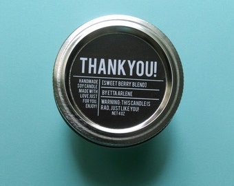Thank You Candle - Scented Soy Candle - Thank You Gift - By Etta Arlene Candles - 4 oz Jar