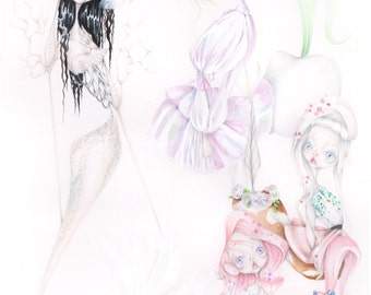 "Original artwork ""Dreamland"" pop surréalisme little mermaid fantasia unicorn"