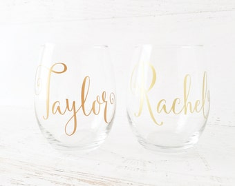Personalized Wine Glasses, Bridal Party Wine Glasses, Bridesmaid Gifts, Personalized Stemless Wine Glasses - 1 Word/Name on Single (1) Glass