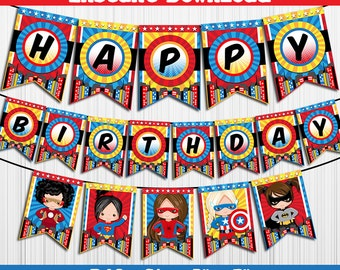 50% OFF SALE SuperHeroes Super Heroes / Banner / Instant Download / Party Printable / Happy Birthday / Girls Girl