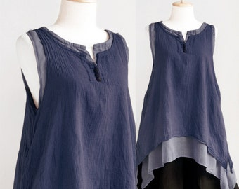 SALE, Women Sleeveless Cotton Summer Top, Doulble Layer Asymetrical Top in Dark Blue