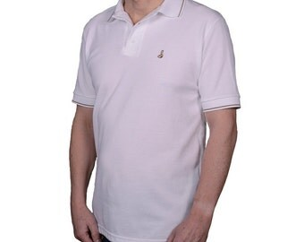 Men's polo shirt white, with brown/beige two colour trim and Josery logo 23T/07.   Made in England.    J513