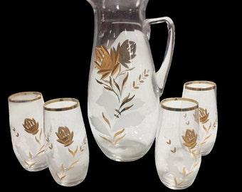 Vintage Gold Encrusted Glass Pitcher & 4 Glasses
