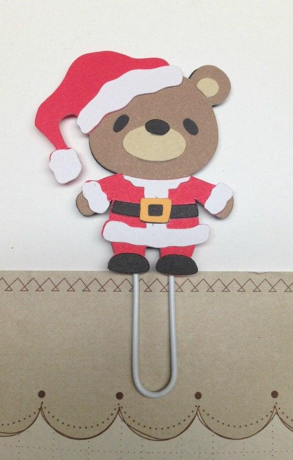 Santa Teddy Bear Paper Clip, Santa Bookmark, Christmas Clip, FiloFax, Erin Condren, Day Planner, Kikki K, Inkwell Press, Plum Paper Planner