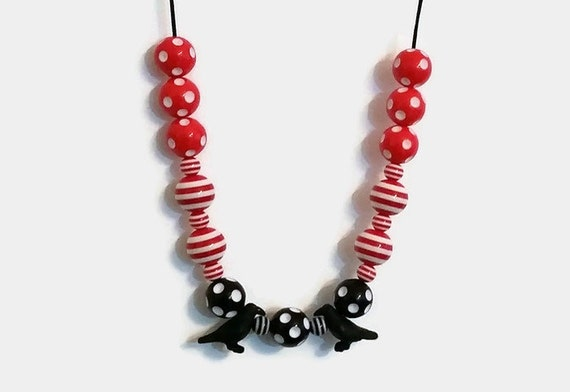 Gotic gift , Raven necklace , Polkadot necklace,  Spotted necklace ,  Red and Black necklace , Mysterious
