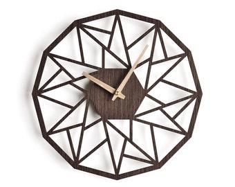 oversized wall clock 40 cm - 16 in | modern wooden clock | geometric clock | laser cut wall clock | wenge wall clock | decorative clock |