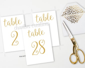 Gold Table Number Printable Signs 4x6 and 5x7 Wedding Table Numbers. Printable Wedding Table Signs. Printable Wedding. DIY Wedding.