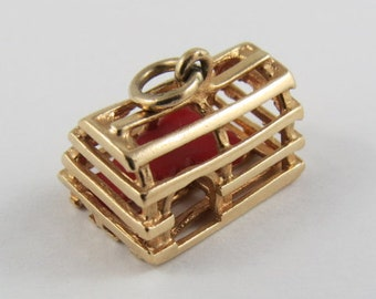 Lobster Trap With Red Lobster Mechanical 10K Gold Vintage Charm For Bracelet