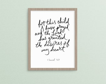 For This Child I Have Prayed 1 Samuel 1:27 | christian nursery instant printable