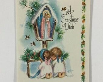 Pink & Blue Wing Cherub Angels Vintage 1950s Marjorie Cooper Christmas Greeting Card