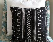 "Mudcloth inspired batik cotton canvas pillow cover 16"" x 16"""