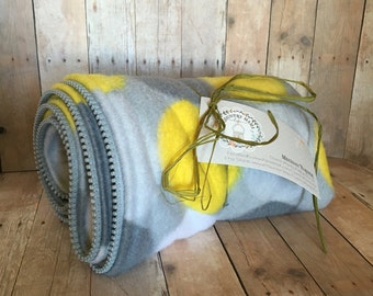 Babywearing coat extender in yellow, grey, and white dot fleece pattern- READY TO SHIP!!!