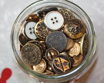 Vintage Gold Tone Button Assortment in Glass Jar
