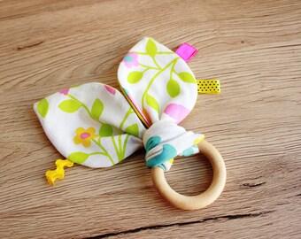 Baby teething toy, Bunny ear teether, Wooden teether, Organic teether, Teething toy, Wood teething ring, New baby gift, Baby Christmas gift