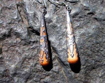 Wooden Filigree Teardrop Earrings - #59