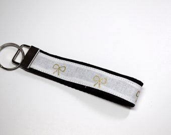 White with Gold Bow Key Chain Fob