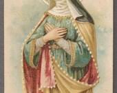 Saint Matilda Antique Holy card Catholic image Religious ephemera