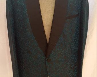 Vintage Emerald Green & Black Floral Silk Men's One Button Smoking Jacket 1960's