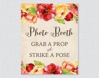 Fall Flower Photo Booth Printable Sign - Autumn Floral Bridal Shower Photo Booth Sign - Rustic Wedding Shower Photo Station Sign - 0018