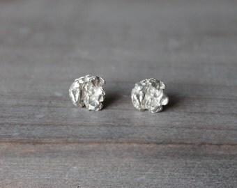 Fine silver nuggets earrings - sterling silver earrings