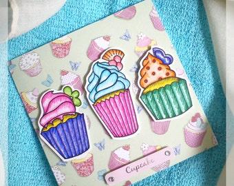 Trio of Cupcakes Handmade Card