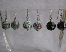 Handmade, Artisan Lampwork Glass Round Beads Ribbed with Frit Earrings, Teal, Blue, or Deep Burgundy Available