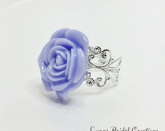 Purple Rose Ring Mauve Flower Ring Violet Flower Jewelry Purple Bridesmaid Gift Flower Girl Ring Pretty Purple Anytime Ring Violet Prom Ring