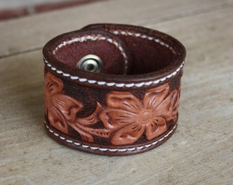 Hand Tooled Leather Cuff Bracelet