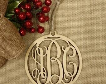 Monogram Ornament - Personalized Christmas Ornament - Wooden Ornament - Personalized Gift Tag