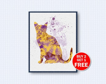 Egyptian Mau Poster, Cat Watercolor, Cat Poster, Egyptian Mau Watercolor, Watercolor Art, Animal, Kinder, Wall Decor, Home Decor