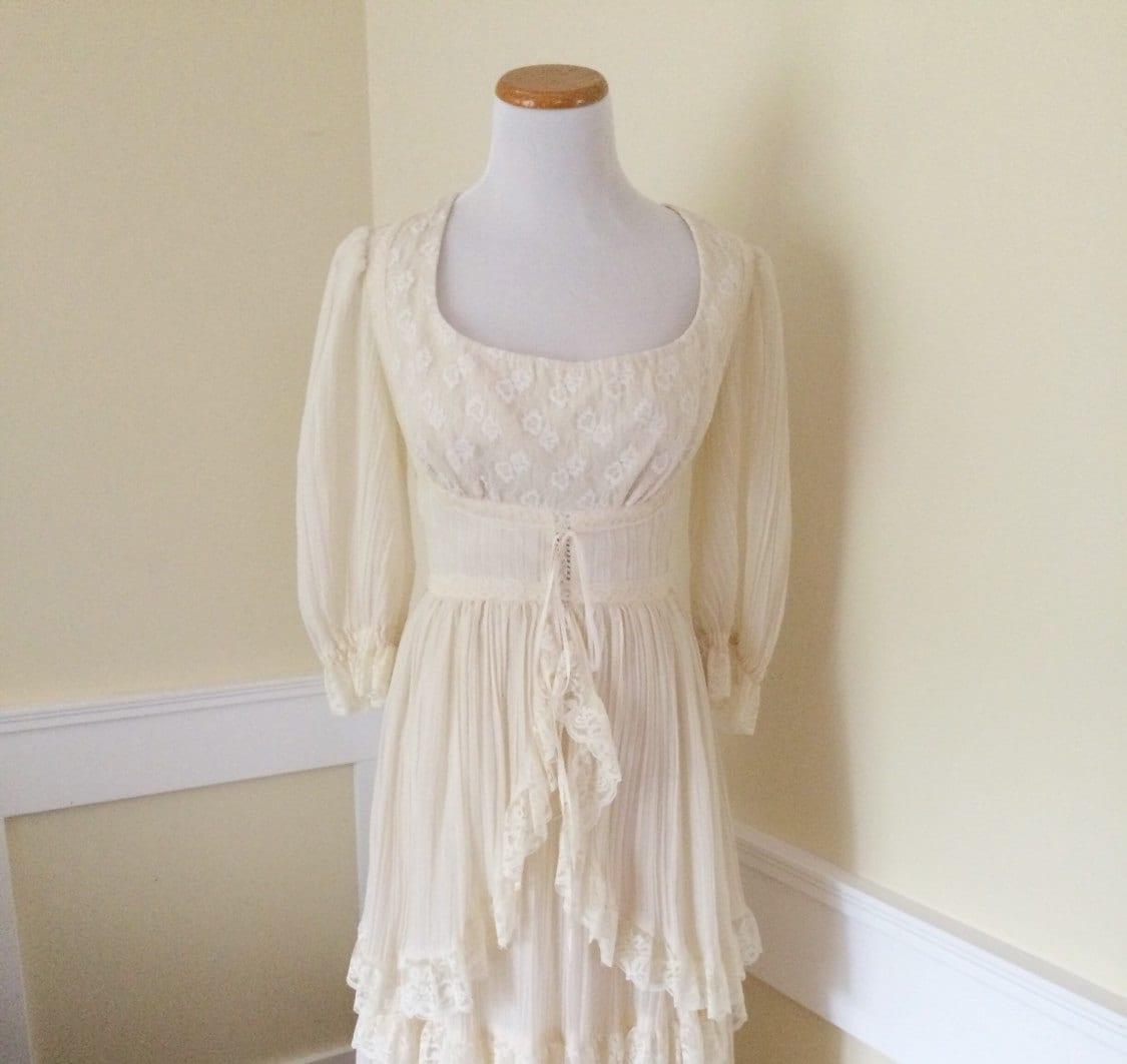 Vintage wedding dress 1970 s wedding dress cotton