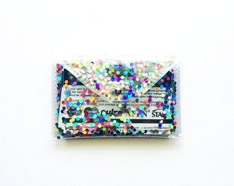 Rainbow Holographic Glitter Card Holder with Cover